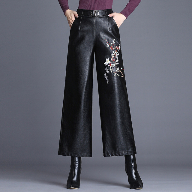 d15728b4783a new PU Pant autumn winter embroidered leather pants women s high waist big feet  pant fashion slim wearing nine points wide leg