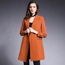 Kakagogo 2017 Autumn British Style Caramel Colour Long Slim Trench font b Coat b font Outwear