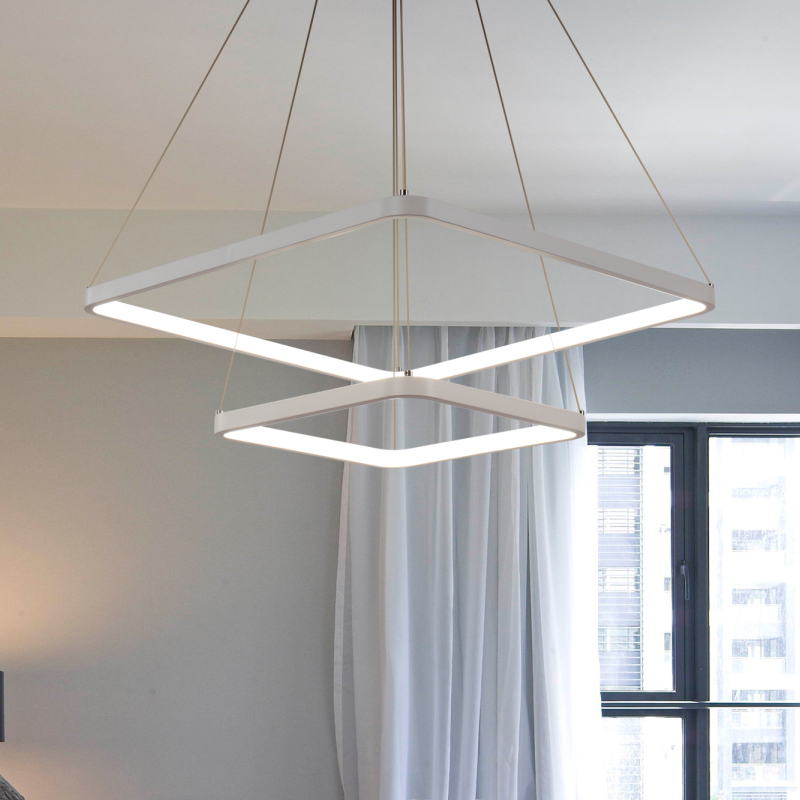 modern led square pendant light for living room dining room bedroom hanging lighting lamp E27 110