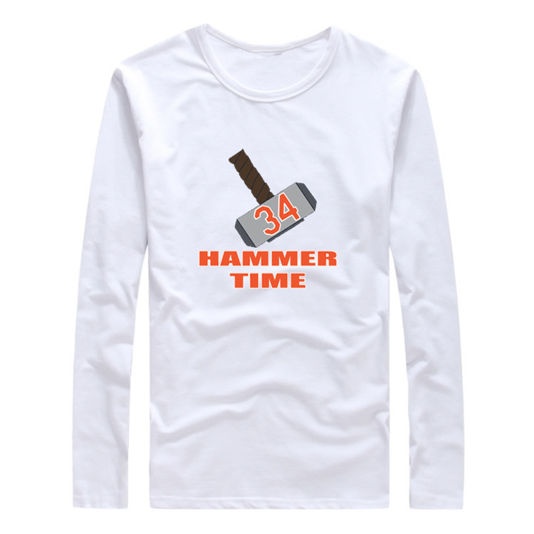 "2017 Autumn Winter #34 Noah Syndergaard New York Women T-Shirt Long Sleeve Tees T SHIRT ""Thor Hammer Time"" W1203018"