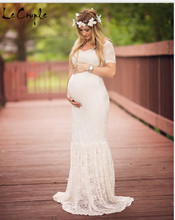 Le пара Материнство кружевное платье Беременность одежда Макси платья для беременных Подставки для фотографий Платья Sweet Heart материнства платье