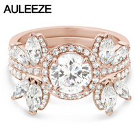 Unique Butterfly Art Deco 3 Piece Set Moissanites Wedding Sets 14K Rose Gold Ring Marquise Cut