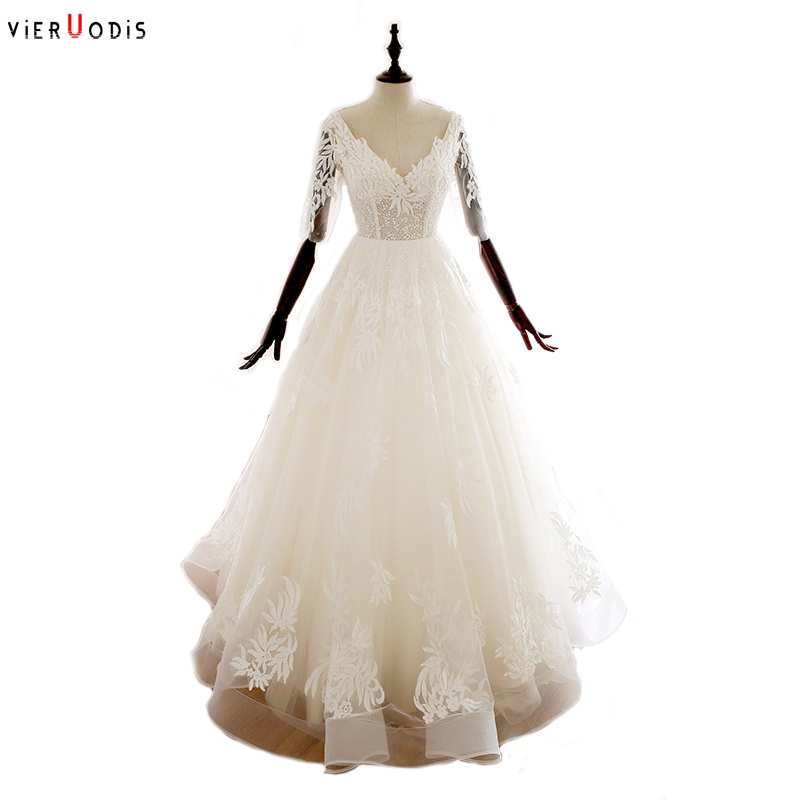 Half Sleeves Backless Vestido Novia Corto Sexy Beads Upper Vestido De Novia Manga Larga V Neck Floor Long A Line Wedding Dress