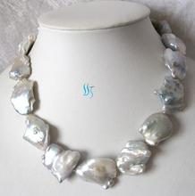Luck Jewelry Huge 18 Inches 22-32mm White Souffle Freshwater Pearl Necklace