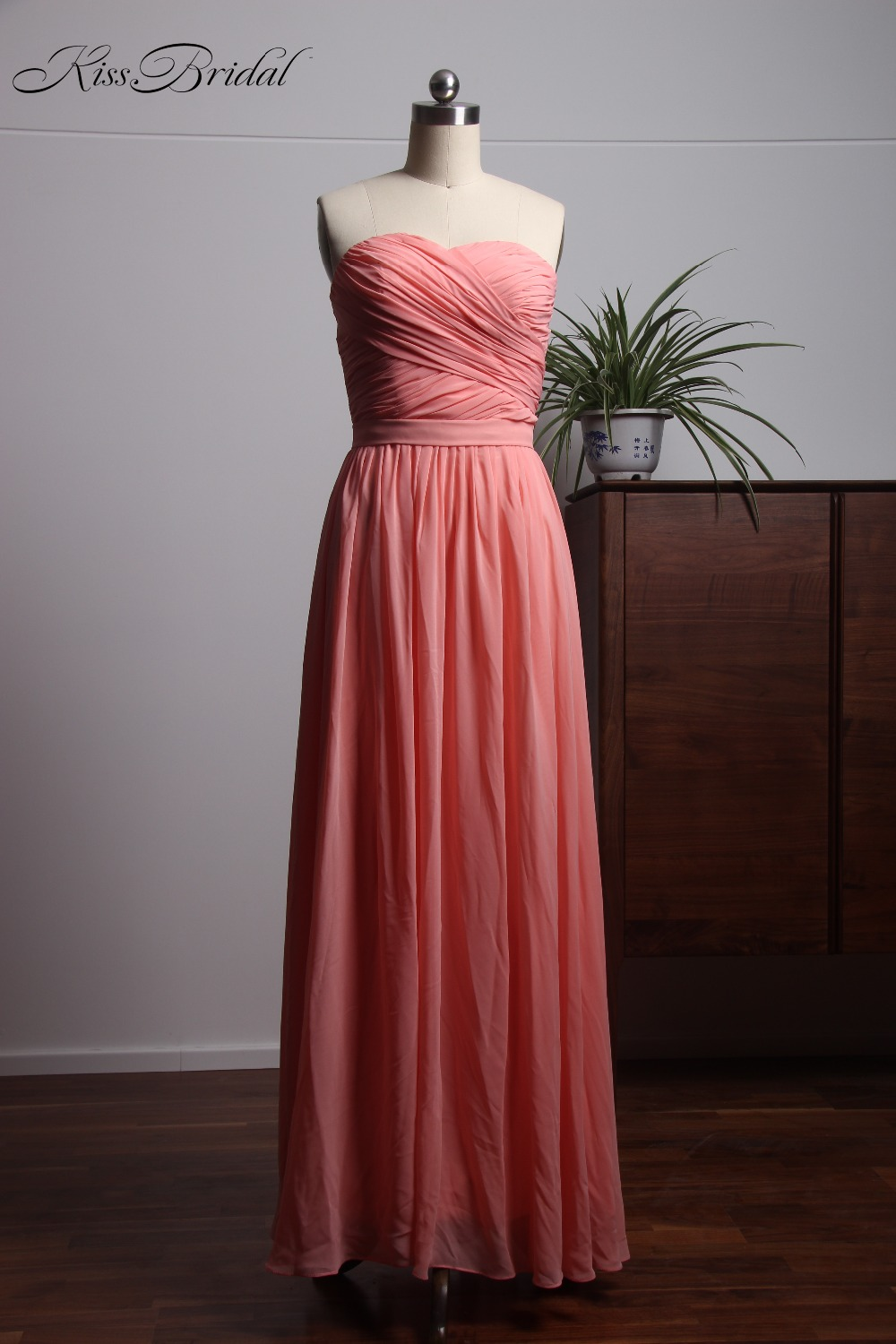 new beautiful coral brdsmaid dress 2018 sweetheart
