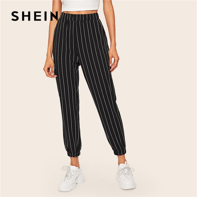 שיין אלכסון כיס אנכי פסים מכנסיים נשים אביב מזדמן אלסטי מותניים מכנסיים שחור רגיל אמצע מותניים מכנסיים Streetwear