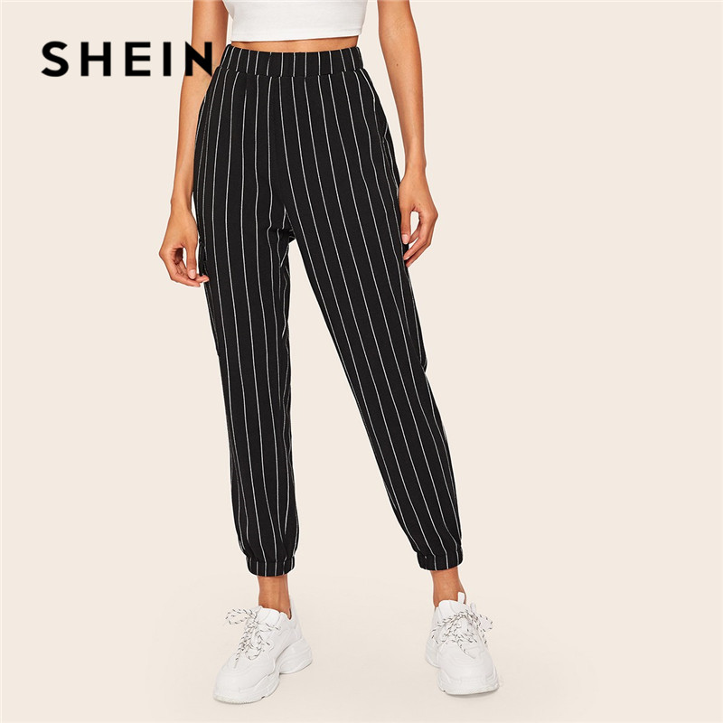 SHEIN Slant Pocket Vertical Striped Pants Women Spring Casual Elastic Waist Trousers Black Regular Mid Waist Streetwear Pants