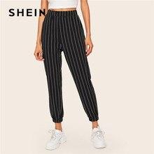SHEIN Slant Pocket Verticale Gestreepte Broek Vrouwen Lente Toevallige Elastische Taille Broek Zwart Regelmatige Mid Taille Streetwear Broek