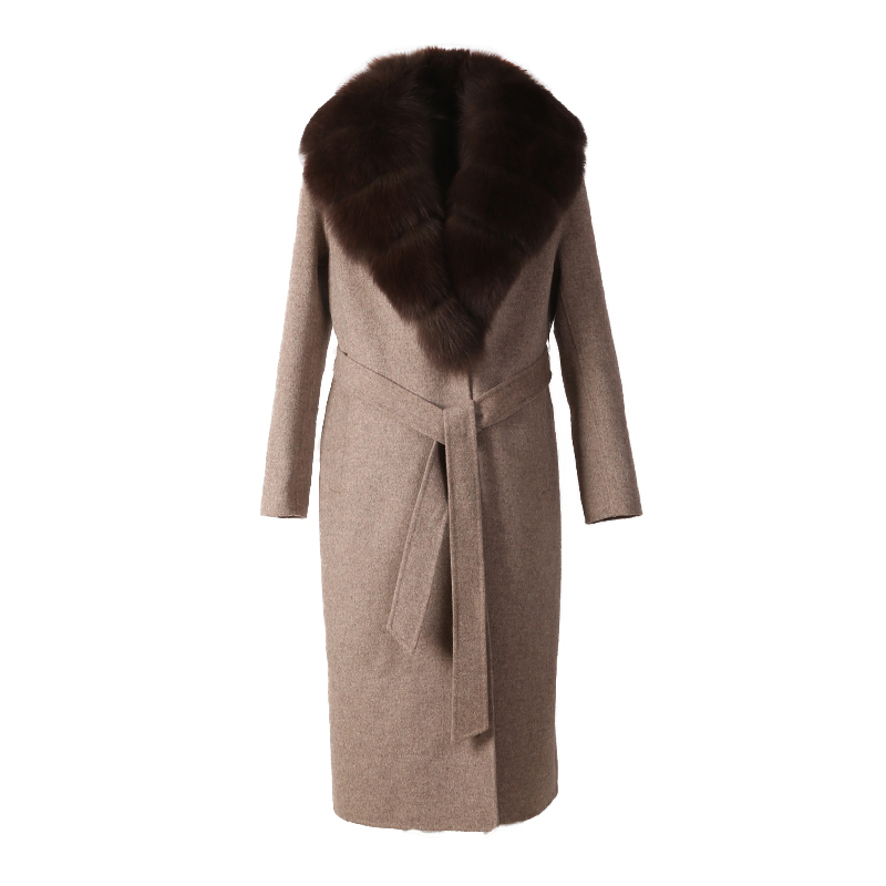 womens cashmere coat parka autumn winter fox fur collar belt women long wool coat jecket light camel color fabric M1818 5
