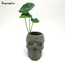 3D גולגולת גיאומטריה פרח סיר עובש בטון סיליקון עובש diy עט מחזיק מלט גבס עובש עיצוב הבית כלים