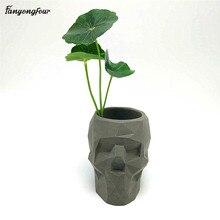 Molde para maceta de flor geométrica de calavera 3D, molde de silicona de hormigón, soporte para bolígrafo para bricolaje, molde de yeso de cemento, herramientas de decoración del hogar