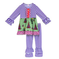 High Quality Baby Clothes Sets Halloween Stripe Top Ruffle Pant Joker Kids Cotton Outfits Children Remake Clothing Sets H017