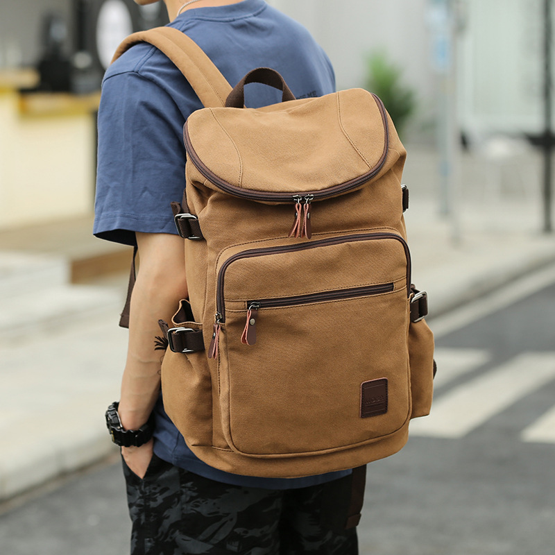 Men s Canvas Travel Bag Folding Backpack 2019 New Student s Bag Leisure Large Size High
