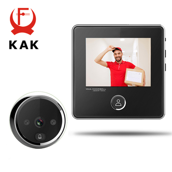 KAK 2.8 LCD Screen Electronic Door Viewer Bell IR Night Door Camera Photo Recording Digital Door Viewer Smart Peephole Doorbell
