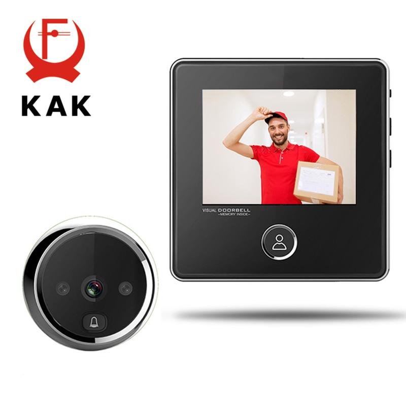 """KAK 3"""" LCD Screen Electronic Door Viewer Bell IR Night Door Camera Photo Recording Digital Door Viewer Smart Peephole Doorbell-in Door Viewers from Home Improvement    1"""