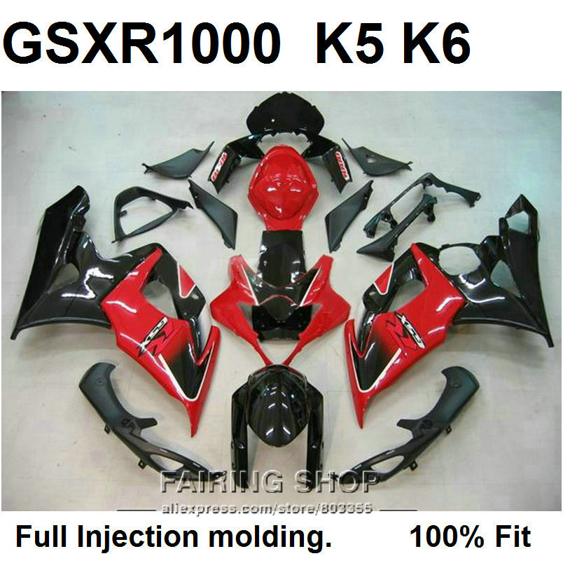 Haute qualité Injection moule carénages pour Suzuki GSXR1000 K5 K6 rouge noir carénage kit GSXR 1000 05 06 VN61
