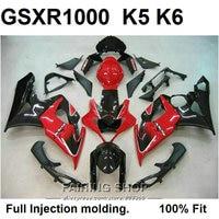 High quality Injection mold fairings for Suzuki GSXR1000 K5 K6 red black fairing kit GSXR 1000 05 06 VN61