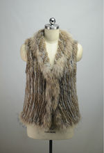 2016 New Close-woven Real Fur Long Vests Womens Rabbit Fur with Raccoon Fur Collar Sleeveless Outerwear Casual Waistcoat LX00838
