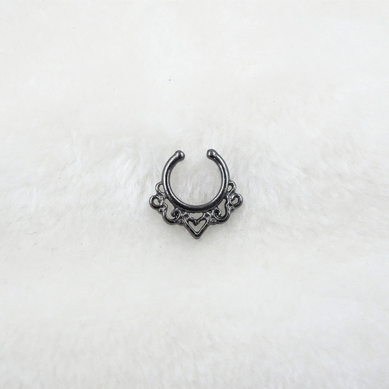 HTB1GPgVPFXXXXabapXXq6xXFXXXq Trendy Women Black Alloy Clicker Septum Nose Ring Jewelry - 10 Styles