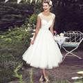 SA260 Sheer Neckline Lace Applique Beach Short Tea Length Wedding Dress 2016