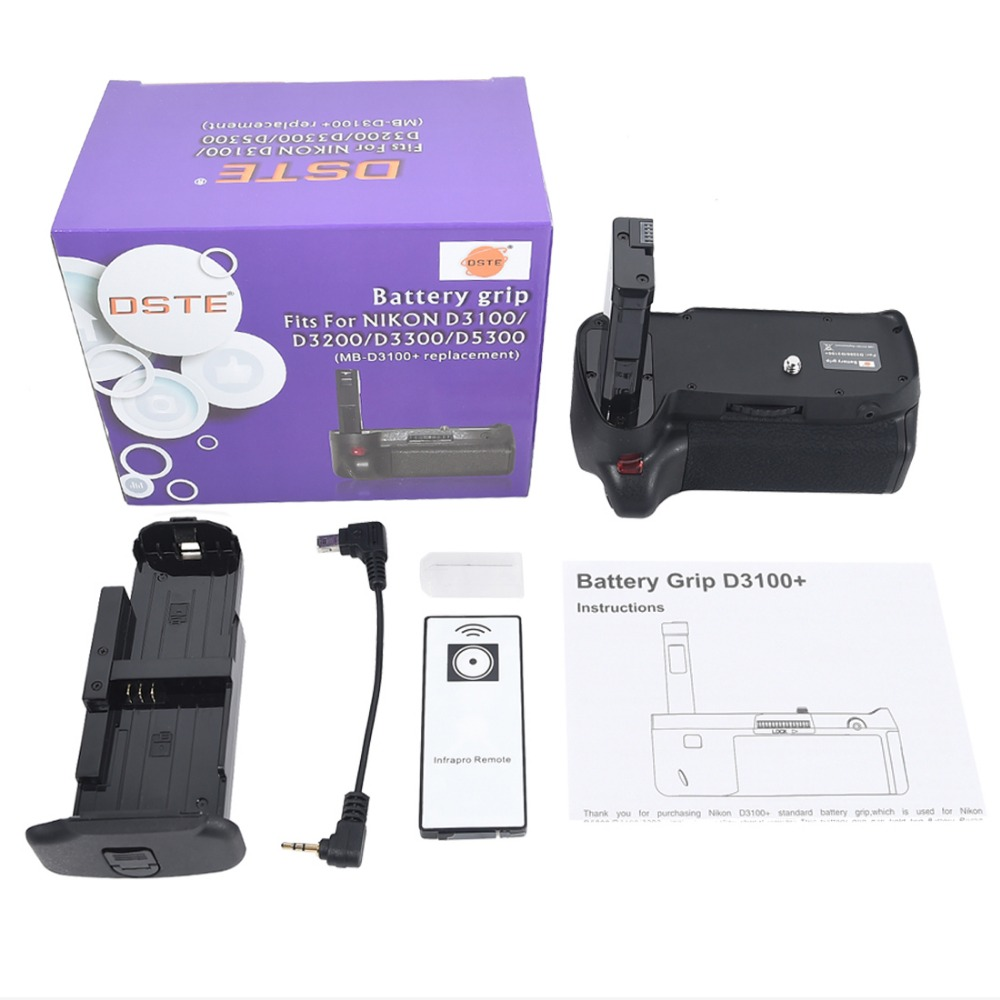DSTE MB-D3100 Battery Grip with Remote Control for Nikon D3100 D3200 D5300 D3300 DSLR Camera instock antminer 580mh s new antminer l3 bitmain l3 l3 brand new & in hand no psu free shipping