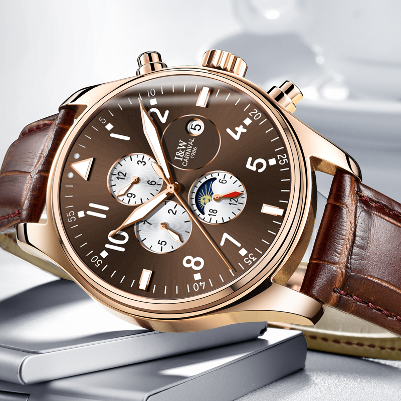 Карнавал механические часы Для мужчин фазы Луны кожаный ремешок розового золота Нержавею ...