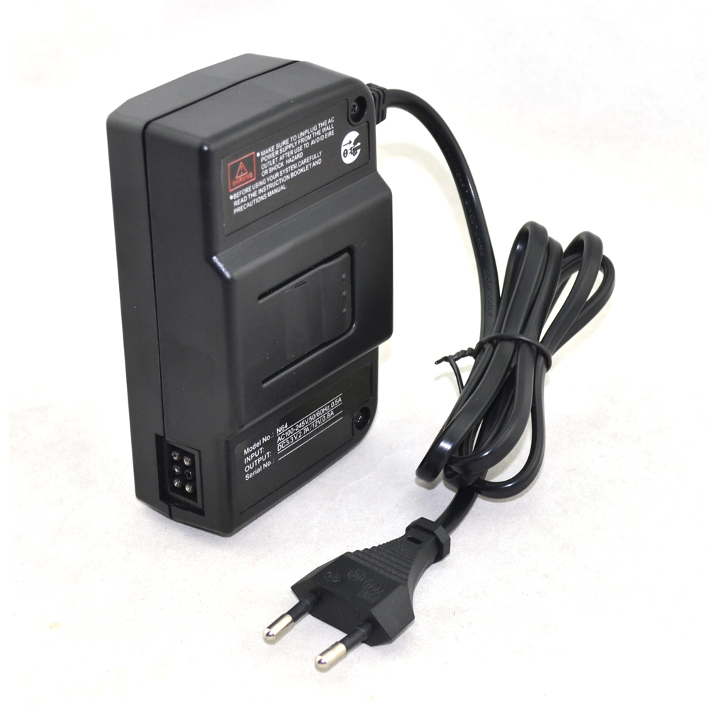 50pcs a lot Wholesale AC Adapter Power Supply for N64 EU 2 Round Plug