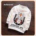 Anlencool 2017 ropa de los niños 2-5 años masculino bebé clothing algodón del resorte del bebé niño de manga larga del suéter de tocar fondo camisa de la cartilla