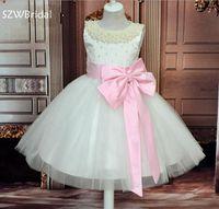 New Arrival Beaded Pearls   Flower     girl     dresses   2018 Pink skirt Vestidos de primera comunion   flower     girl     dress   Vestido de daminha