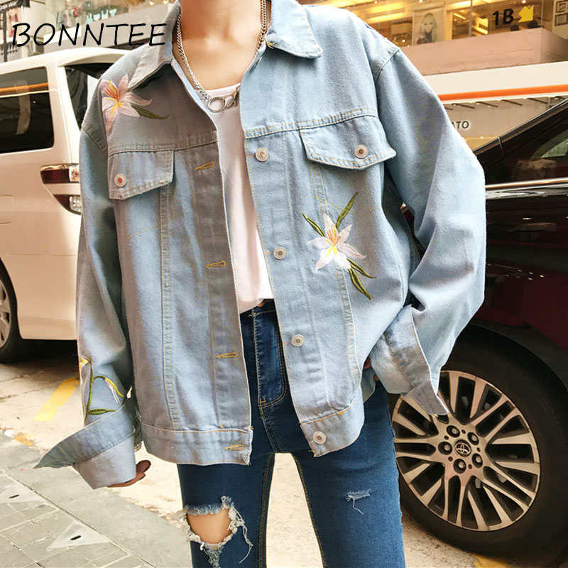 Women   Jackets   New Loose Chic Floral Embroidery Denim   Basic     Jackets   Womens Fashion All-match BF Daily Korean Style Casual Outwear