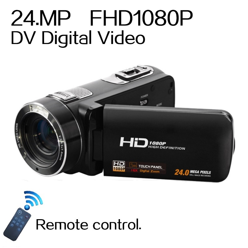 Remote Control  1080P Full HD digital Video Camera 3.0″ LCD Touch Screen 24 MP 16x Digital Zoom Camcorder DV+Wide Angle Lens