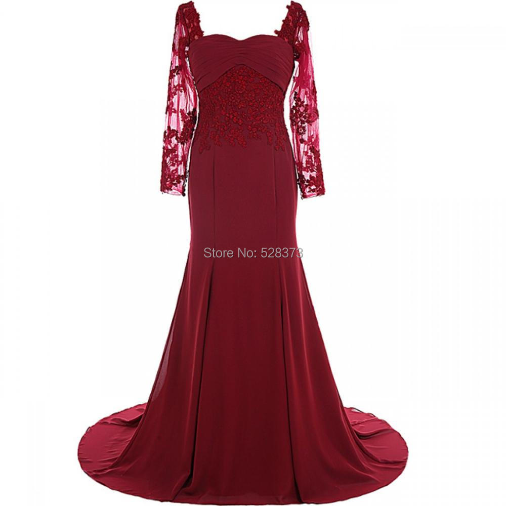 YNQNFS Real Photos MD17 Lace Appliqued Chiffon Elegant Long Sleeves Mother Of The Bride/Groom Dresses Burgundy 2019