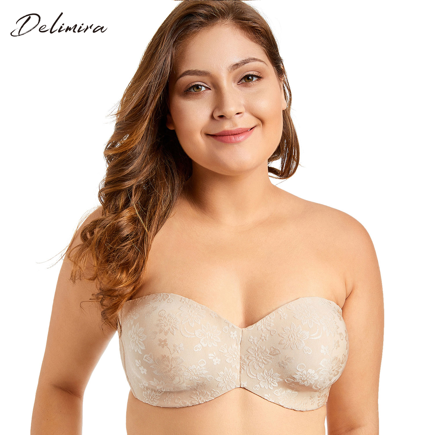 5cd22d3a46342 Aliexpress.com   Buy Delimira Women s Floral Jacquard Multitway Underwire  Non padded Minimizer Strapless Bra from Reliable Bras suppliers on DELIMIRA  ...