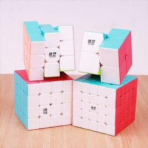 Image 2 - QIYI warrior 3x3x3 4x4x4 5x5x5 Magic Cubes Children Toys Speed Puzzles Cube Learning sticker less Magico Toys pocket Cube 2x2x2