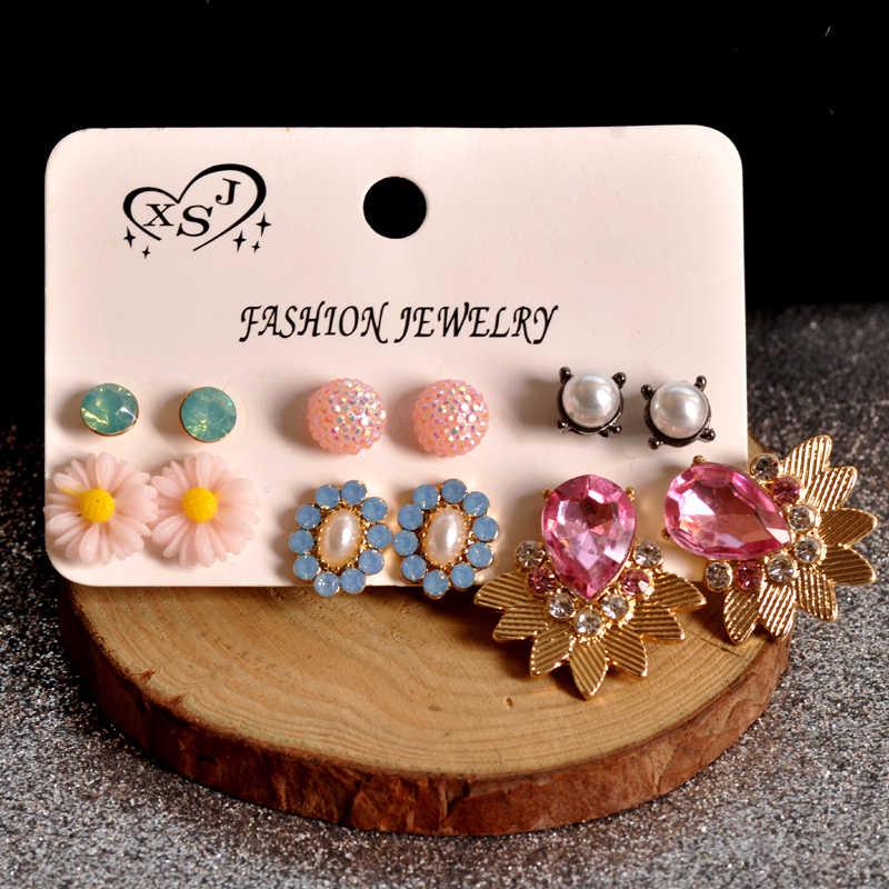 を新ファッション女性のジュエリーガール誕生日真珠パール耳ピンク混在パターンゴージャスな 6 ペア/セットイヤリングギフト