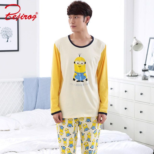 Bejirog Sleep Clothing Pajama Set Men Casual Homewear Male Nighties Cartoon  Plus Size Cotton Yellow Long a8a56a84d
