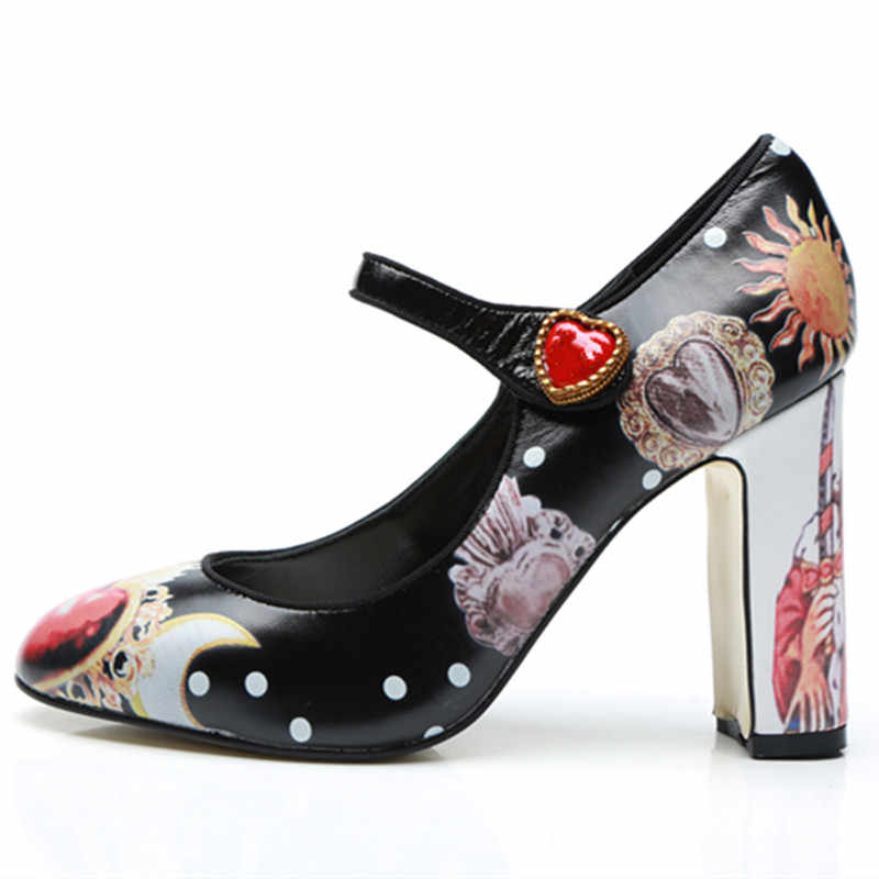 Detail Feedback Questions about New fashion brand design painted high heels  black red ankle strap block heel pumps women Mary Jane shoes sapato  feminino on ... da7eb9e034bf