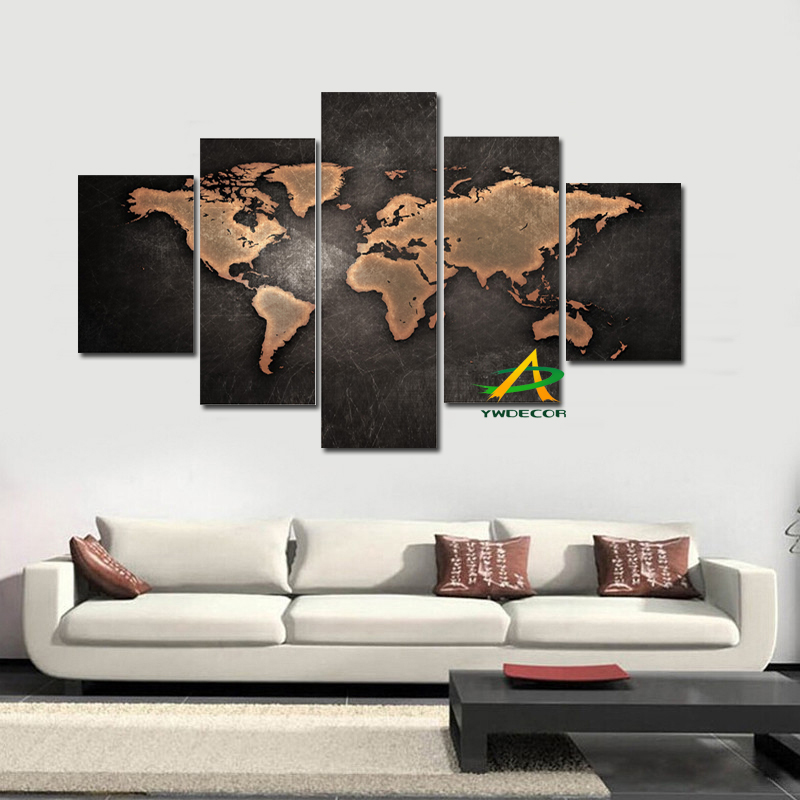 4panel canvas wall art abstract painting classical black world map 4panel canvas wall art abstract painting classical black world map modular wall picture for living room unframed cuadros decor in painting calligraphy gumiabroncs Gallery