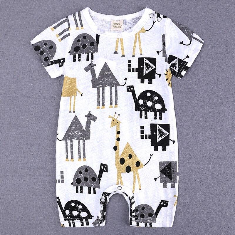 HTB1GPhzXUrrK1RkSne1q6ArVVXaW 2019 Cartoon Baby Onesies Summer Cotton Romper Boy Girls 0-24 Months Kids Clothes Knitted Cartoon Short-sleeved Jumpsuit Outfits