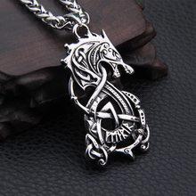 Dropshiping nova chegada de aço inoxidável viking dragão pingente colar masculino presente