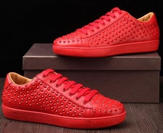 c62b615e9a3 Designer Men Sneakers Red Bottoms Genuine Leather Men Flats Shoes ...