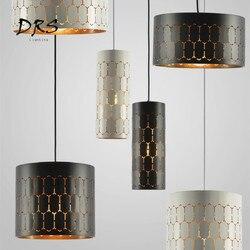 Nordic Led żyrandol nowoczesny minimalistyczny sypialni Bar czarny i biały wiszące lampy kreatywny lampa do jadalni sztuki żelaza lampa wisząca