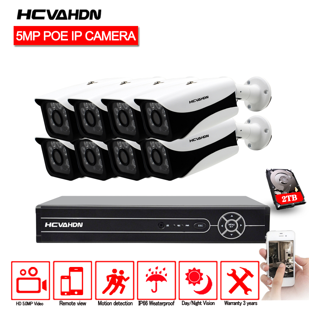 HCVAHDN 8CH CCTV Camera Kit HD 5MP Bullet PoE IP Camera Waterproof Outdoor Night Vision Video