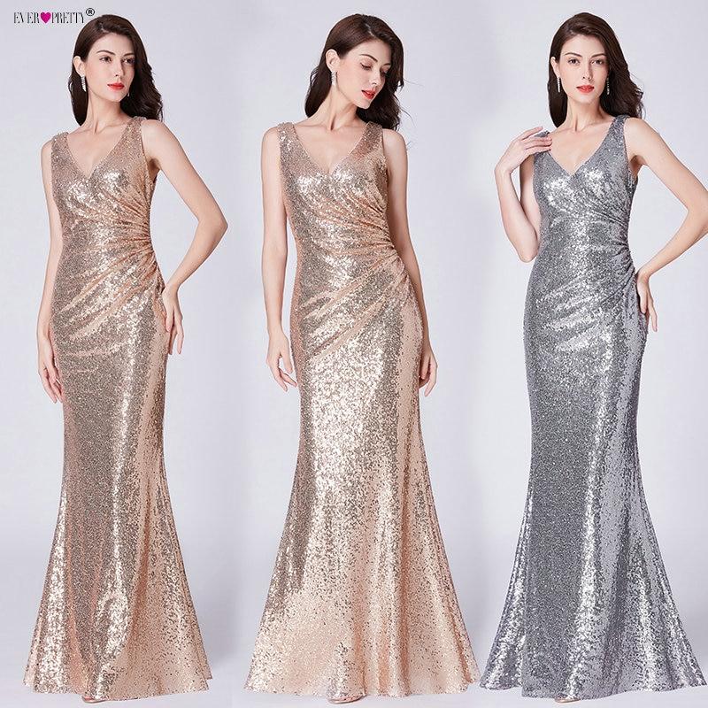 Ever-Pretty US Silver Bridesmaid Dress Fishtail Mesh Bodycon Cocktail Gown Maxi