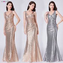 Formal Evening Dresses V Neck Ever Pretty EP07405 Long Silver Rose Gold Sequin Wedding-Guest Party 2019 Maxi Gown Dress