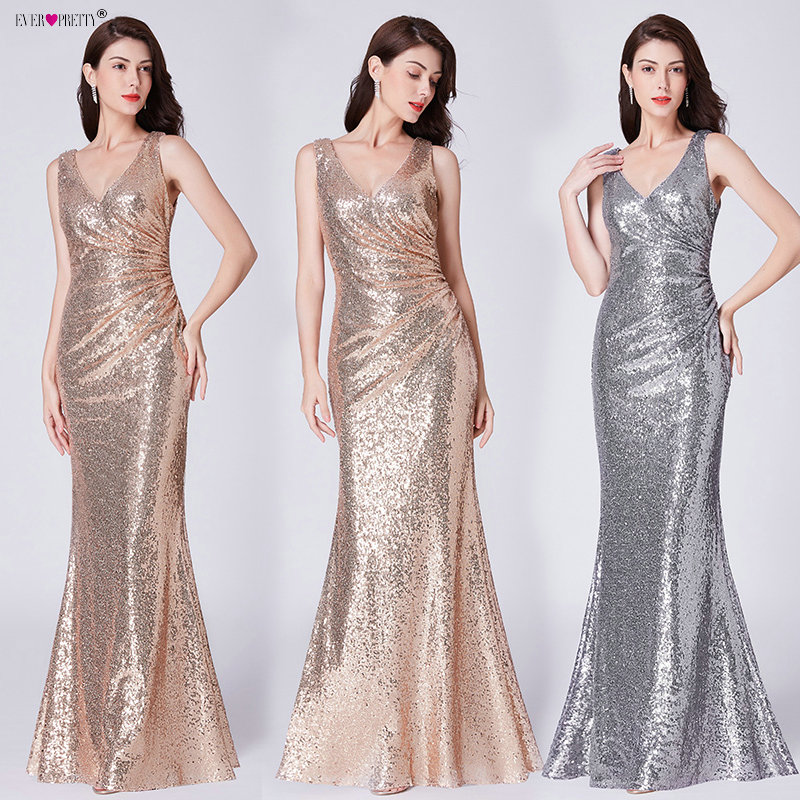 Formal   Evening     Dresses   V Neck Ever Pretty EP07405 Long Silver Rose Gold Sequin Wedding-Guest Party 2019 Maxi   Evening   Gown   Dress