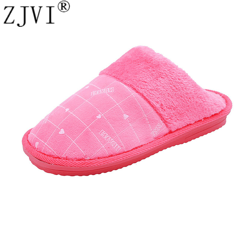 Zjvi 2019 Hot Ladies Home Floor Women Indoor Lattice Slippers Outsole Cotton-padded Shoes Woman Winter Men Man Couple Slippers