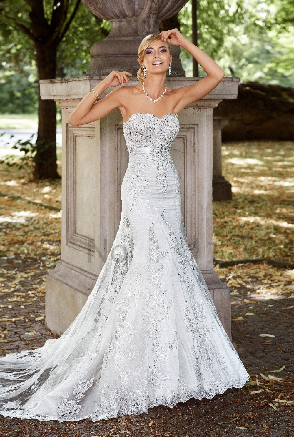 Custom Made Elegant Strapless Lace Up Lace Mermaid Wedding