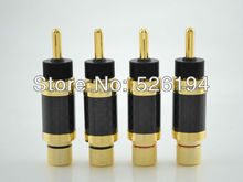 4 pieces ACROLINK CF-202(G) Gold Plated Banana Plug Carbon Fiber Speaker 9mm Cable Connector