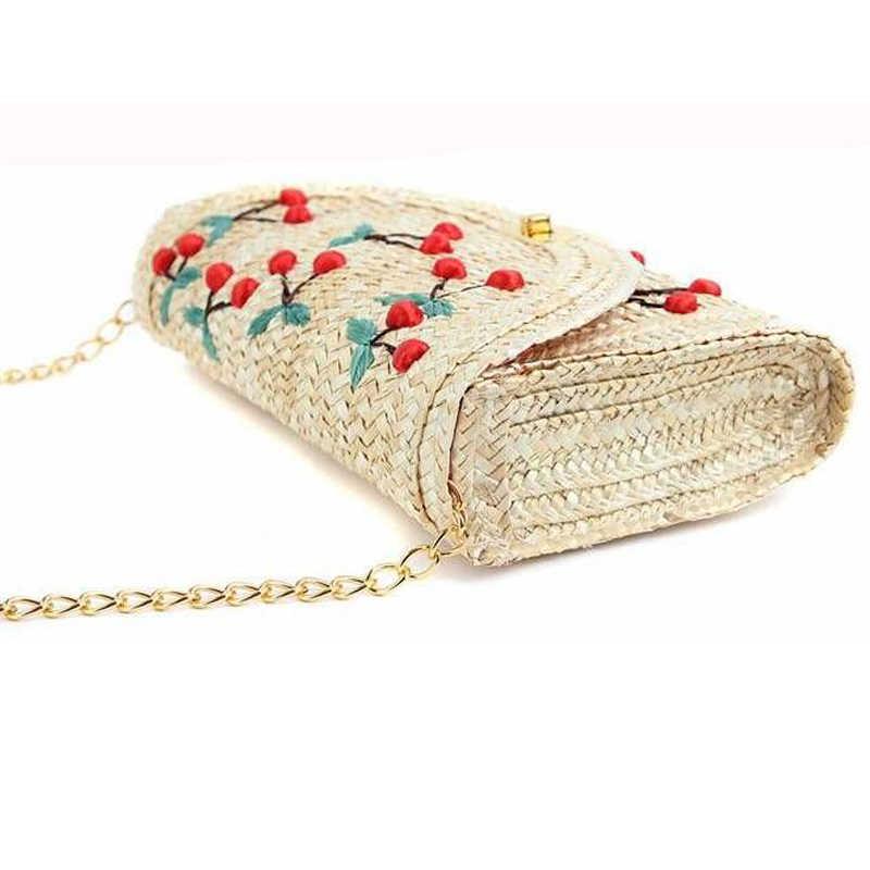 Xmessun Merek Musim Panas Cherry & Pisang Jerami Messenger Tas Anyaman Hari Clutch Penutup Pantai Paket Crossbody Rantai Tas L160
